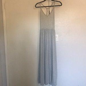 Gray Striped Maxi Dress
